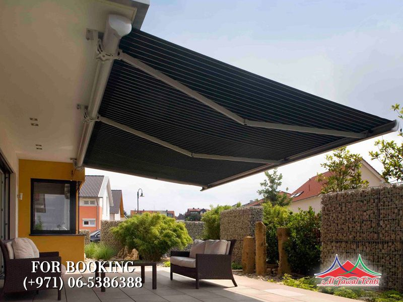 Awning sitting area shades suppliers manufacturers Sharjah and Dubai