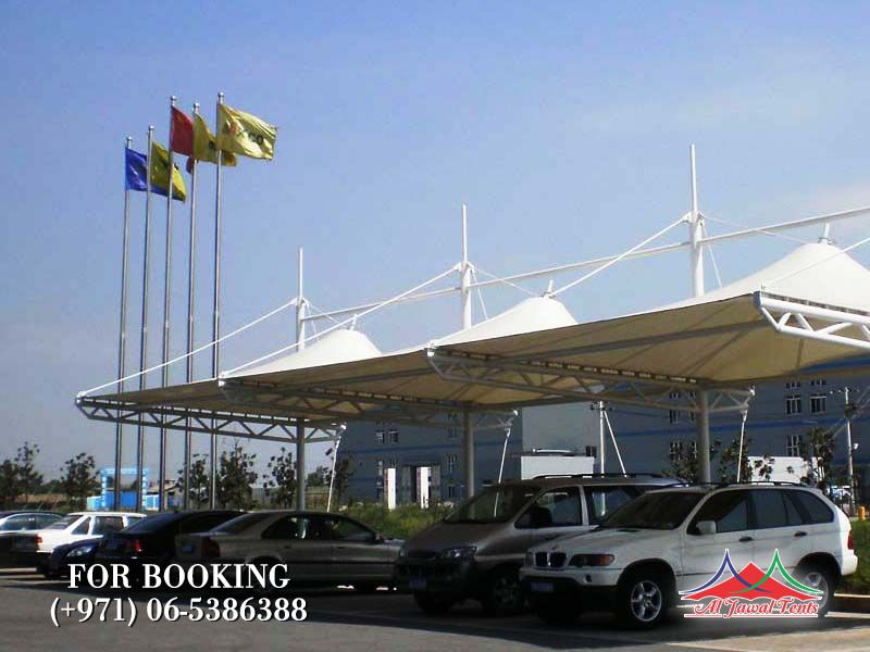 Tension Cantilever Pyramid Car Parking Shades suppliers manufacturers Sharjah and Dubai